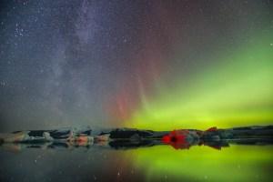 Aurores boreales Jokulsarlon Islande