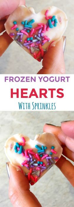 a hand holding a frozen yogurt treat shaped like a heart with text title overlay