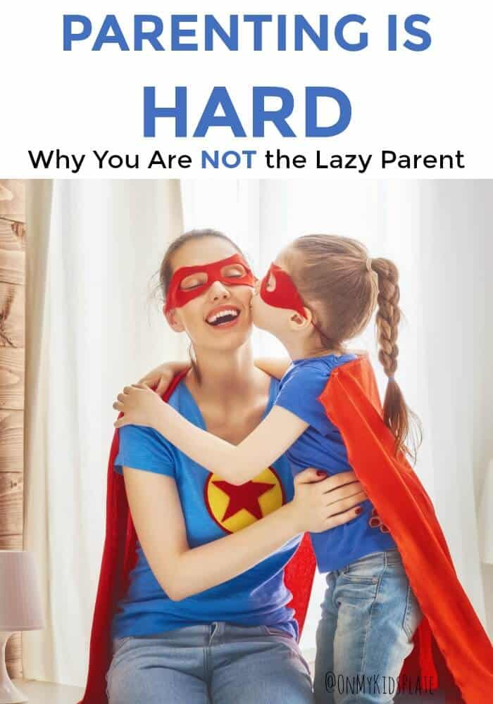 A women and a child both wearing superhero outfits with text title overlay