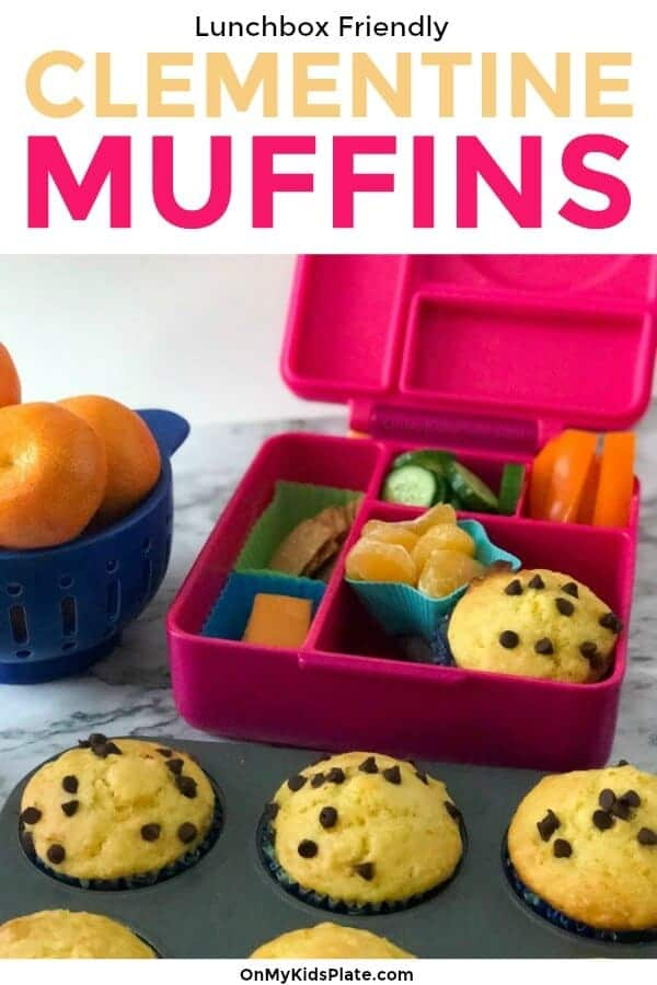A lunchbox full of food next to a muffin tin full of muffins and a bowl of oranges with text title overlay