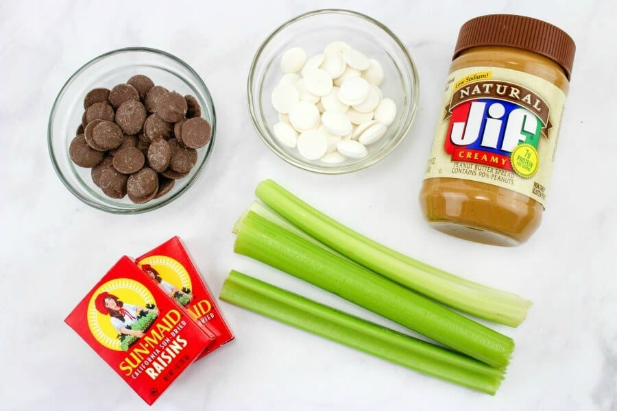 On a counter are several ribs of celery, raisins, a jar of peanut butter, and two small bowls full of chocolate and white chocolate candy melts.