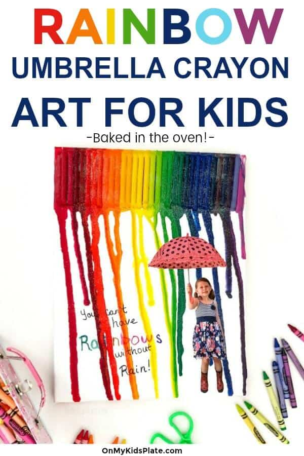 A canvas with melted crayon art over a child holding an umbrella with text title overlay