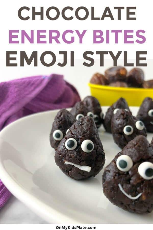 chocolate snack bites made to look like a face with text title overlay