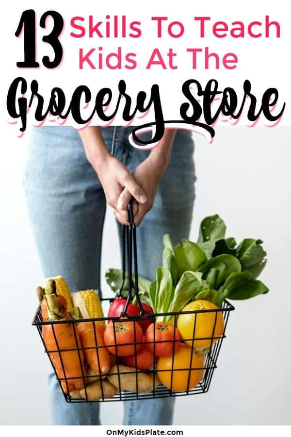 A person holding a metal grocery basket full of vegetables with text title overlay