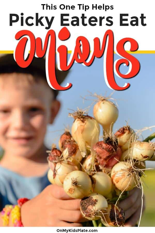 A child holding a bundle of onions with text title overlay