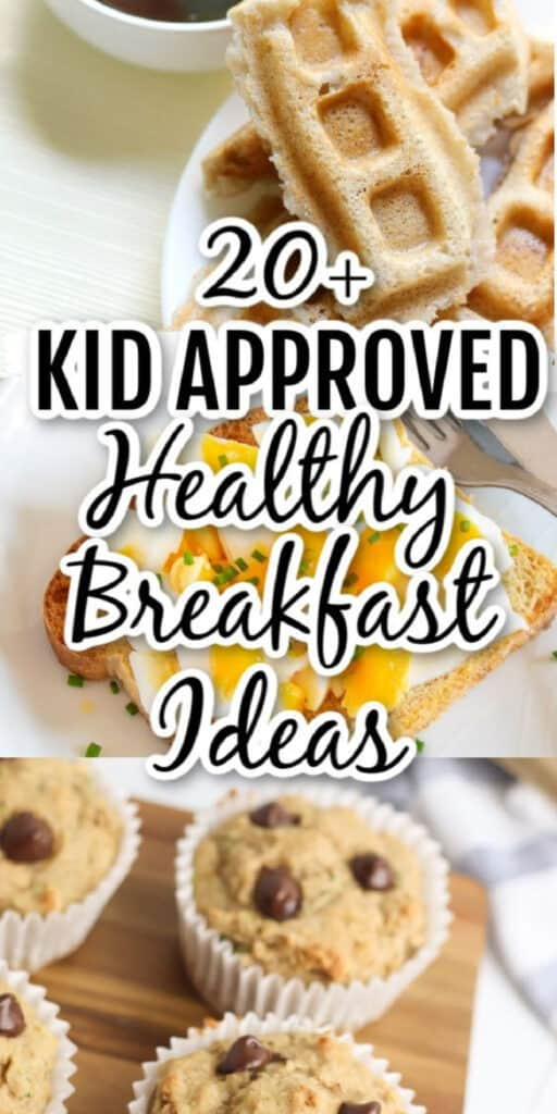 Different types of breakfast food with text title overlay