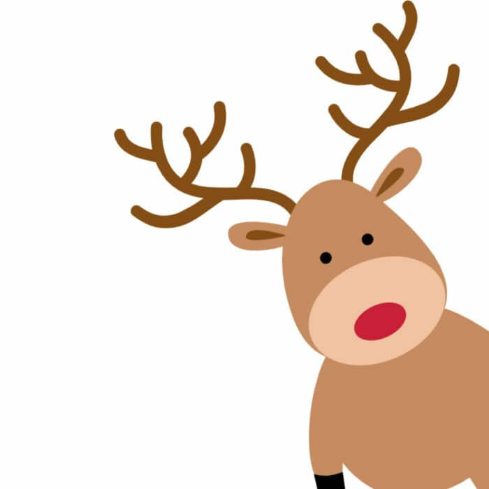 A cartoon reindeer facing forward standing on it's hind legs like a person