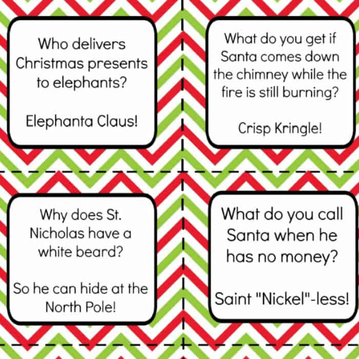 Sample printable christmas jokes for lunch boxes