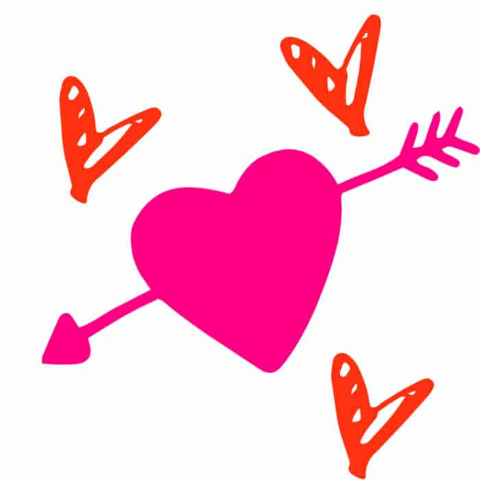 A large graphic heatt with an arrow through it and several smaller hearts scattered nearby.