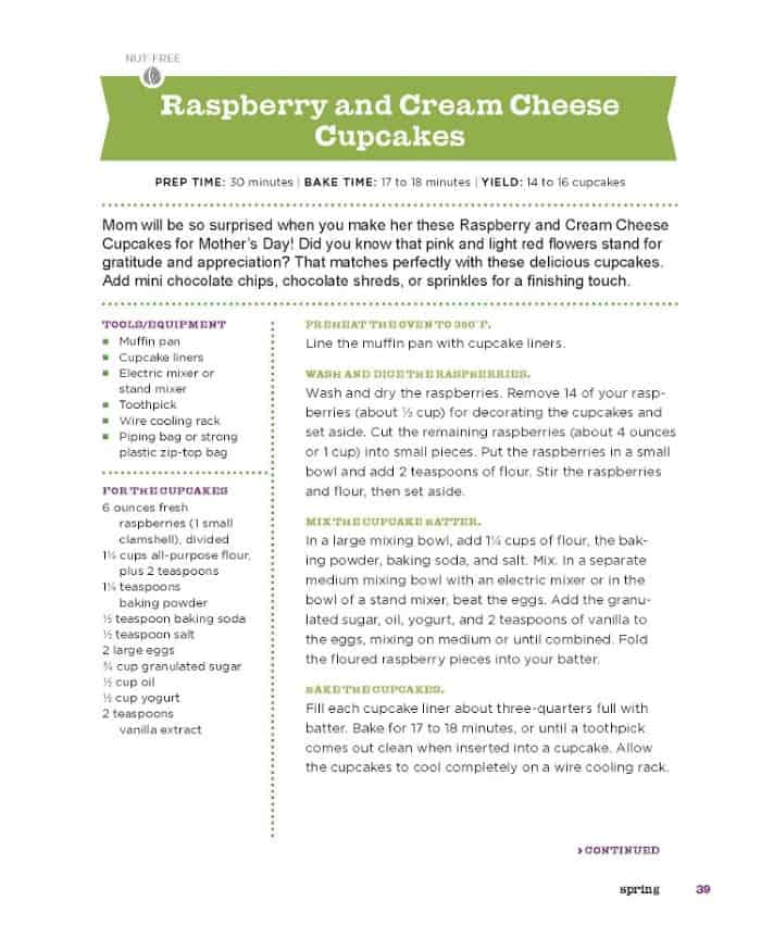 Raspberry cream cheese recipe page 1 from Kid Chef Bakes For The Holidays