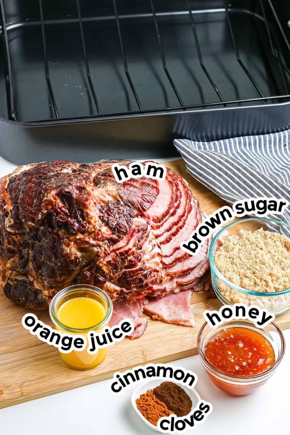 Ingredients for honey baked spiral ham