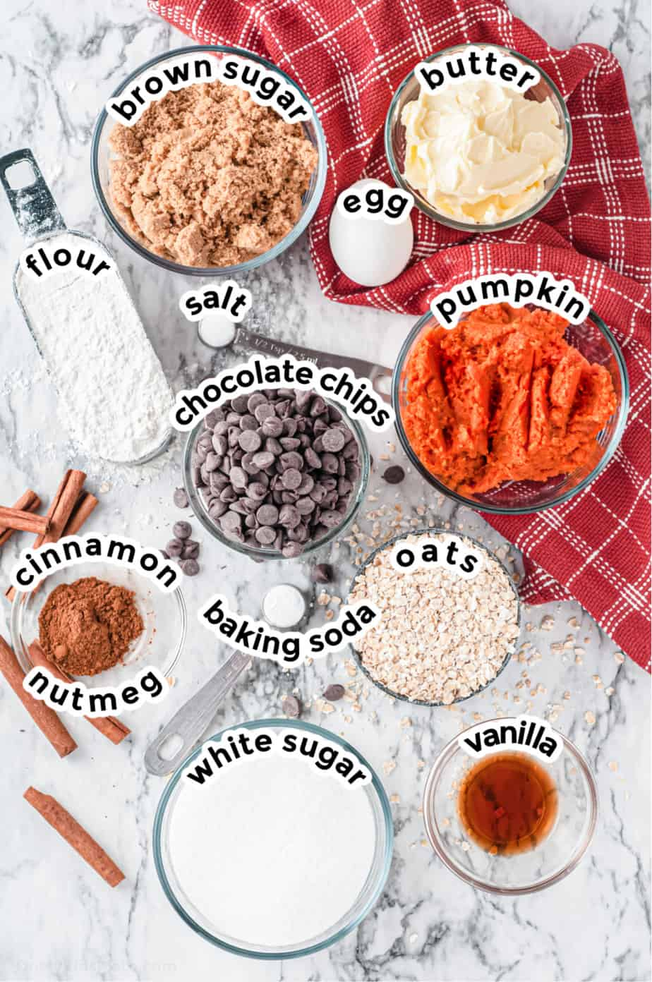 Ingredients for pumpkin oatmeal cookies with chocolate chips