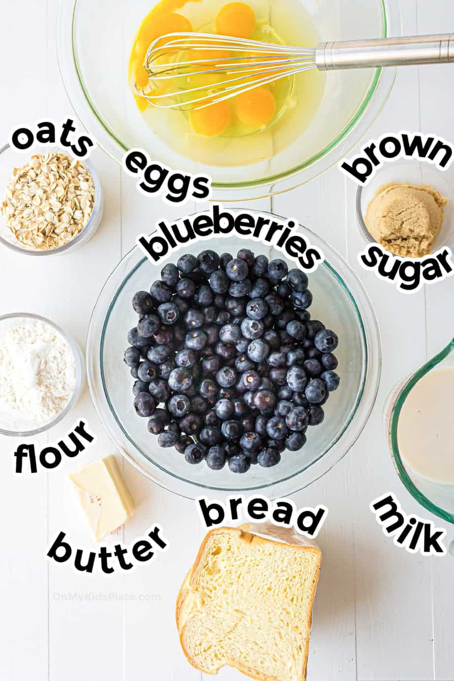 Ingredients for blueberry french toast casserole from overhead