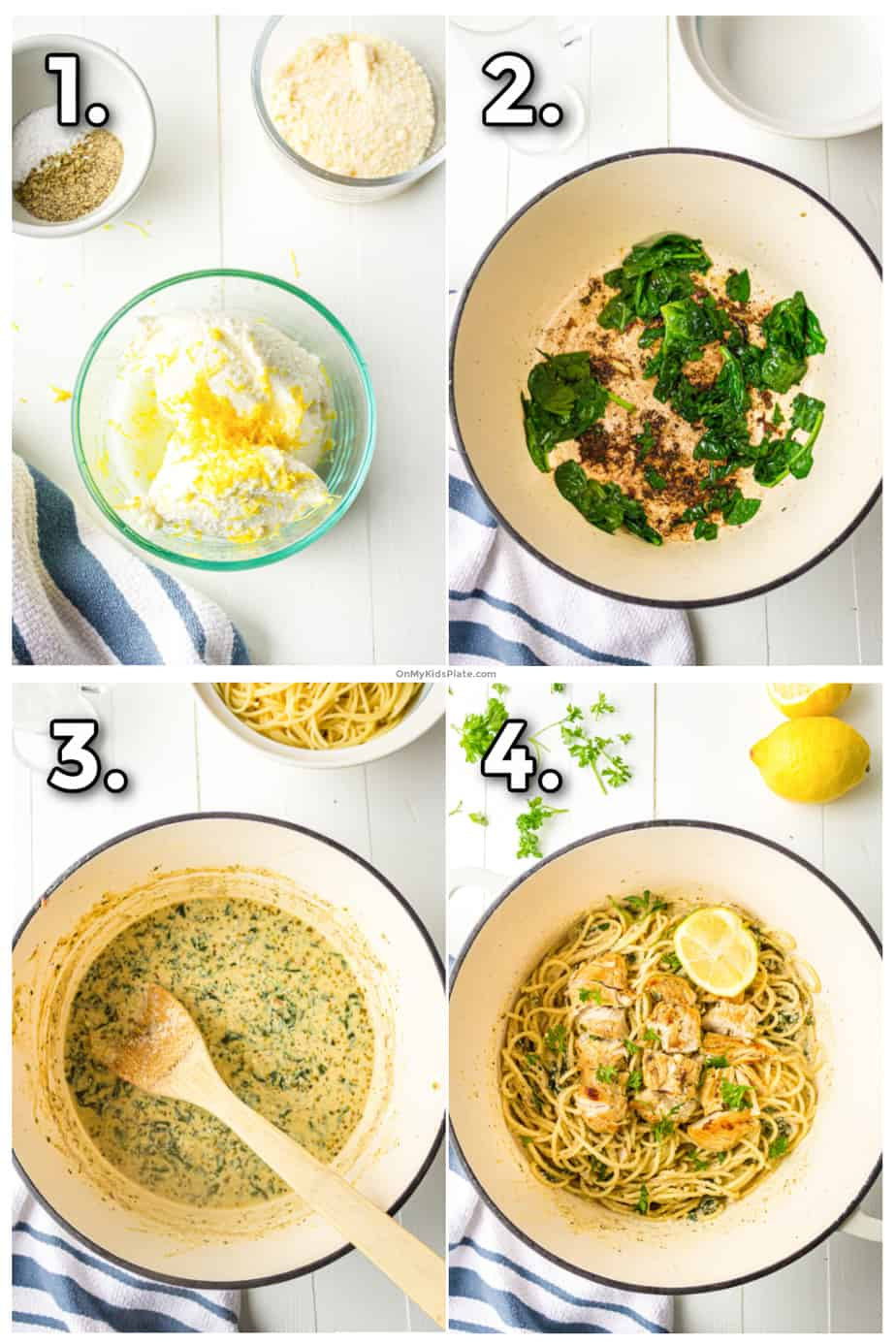 Step by step images showing mixing the ricotta sauce, cooking the spinach and chicken making a sauce and finishing the dish tossing the pasta in the sauce with chicken, lemon and herbs.