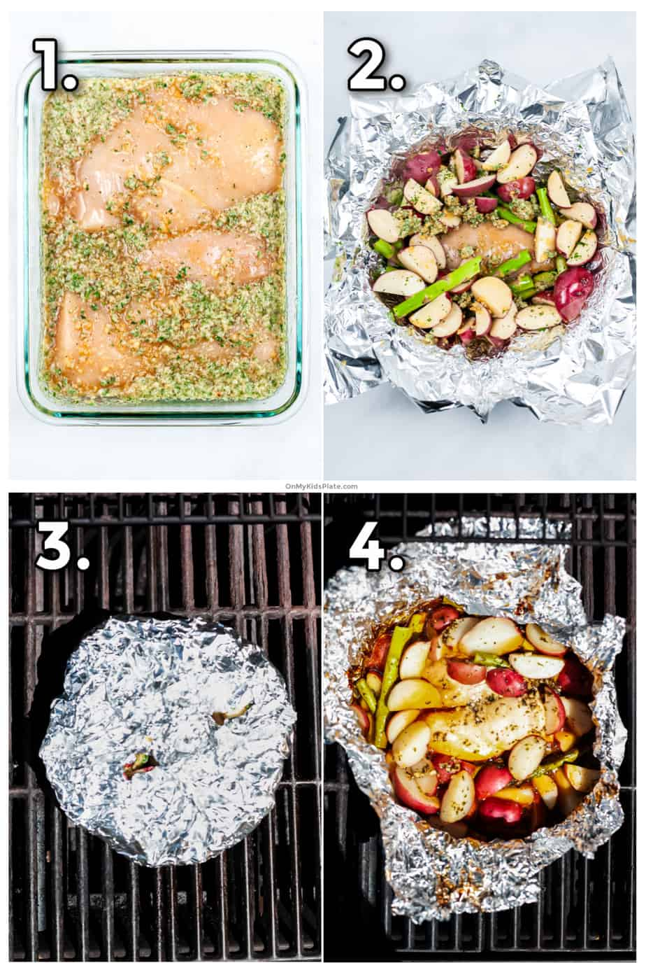 Process photos showing marinating the chicken, layering the chicken packets with potatoes, asparagus and sauce, folding up grilling, and the finished packet.