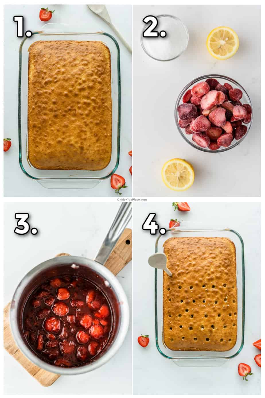 Showing steps of how to make a strawberry poke cake. First baking cake, then making strawberry sauce and poking holes in cake