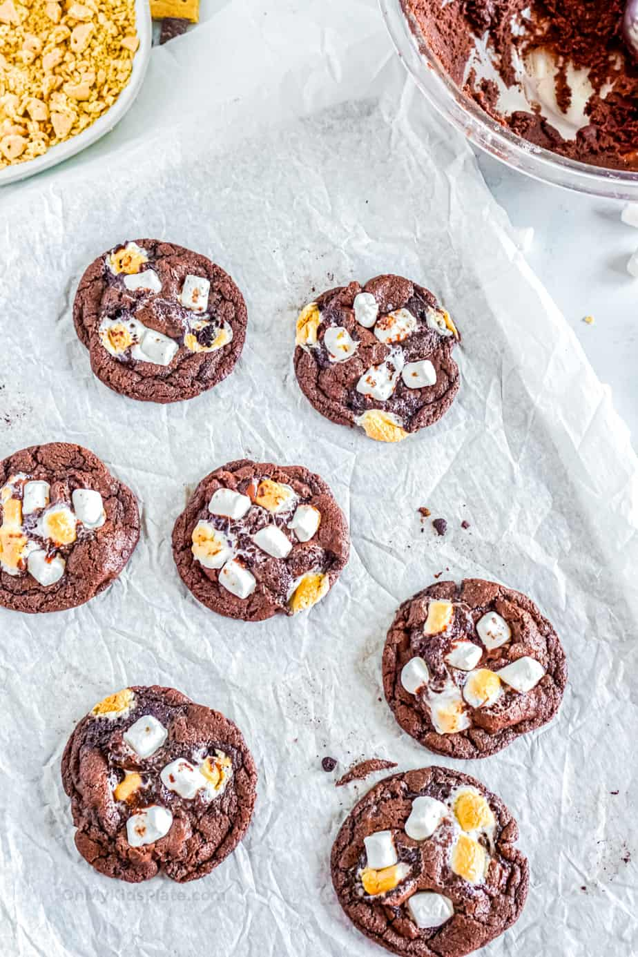 Chocolate cookies with gooey mini marshmallows on top.