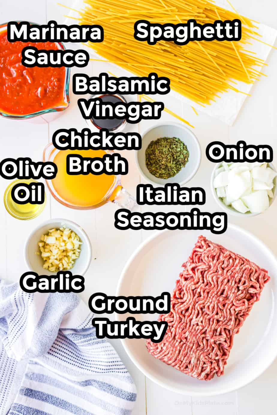 Ingredients in bowls for ground turkey one pot spaghetti.