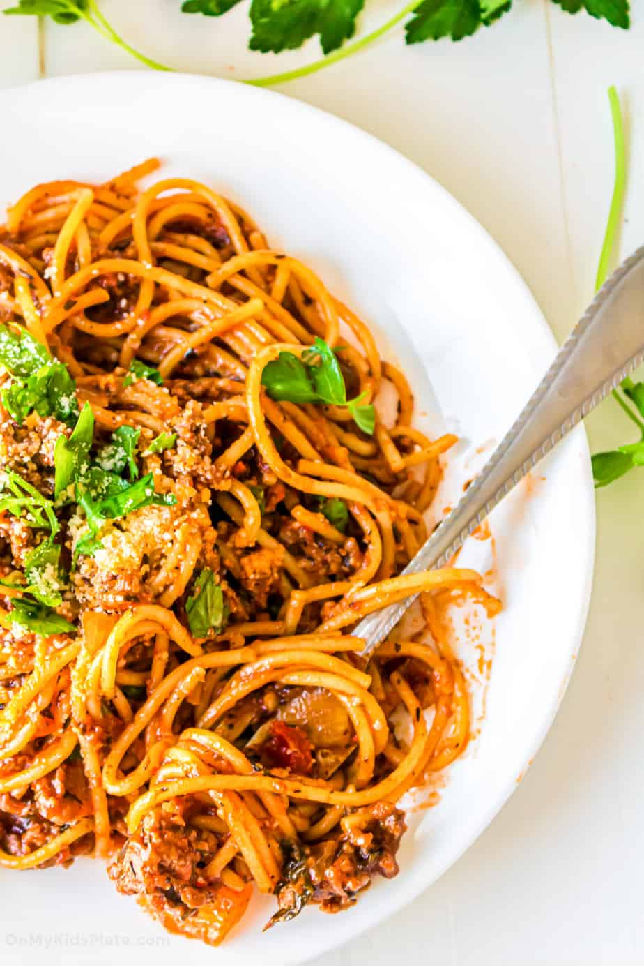 Close up of a plate of spaghetti in red sauce with ground turkey.