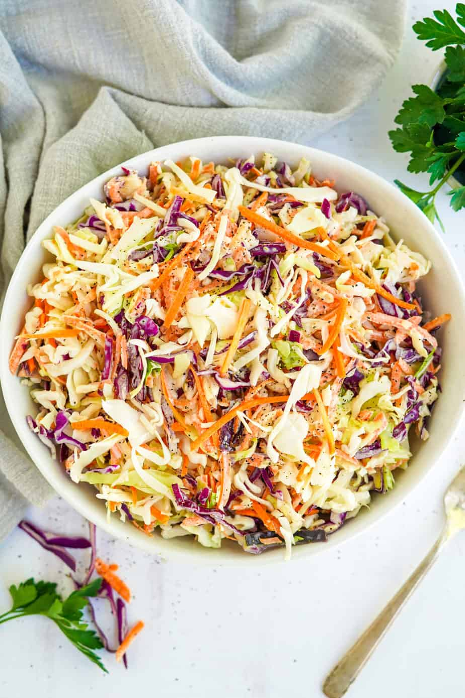Coleslaw in a serving bowl from overhead