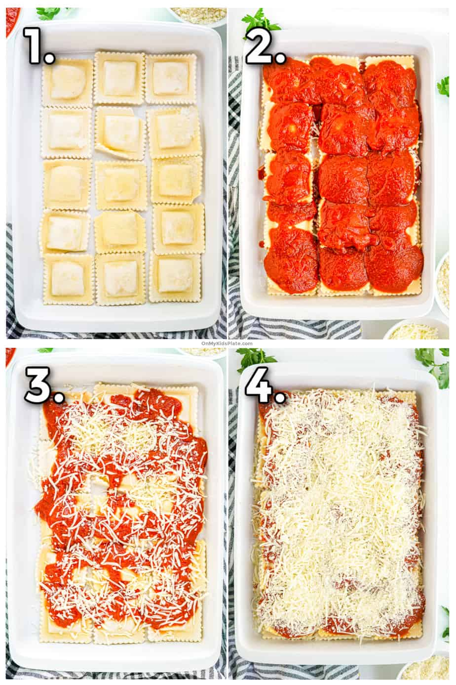 Collage of images layering ravioli, marinara sauce and cheese in a casserole dish