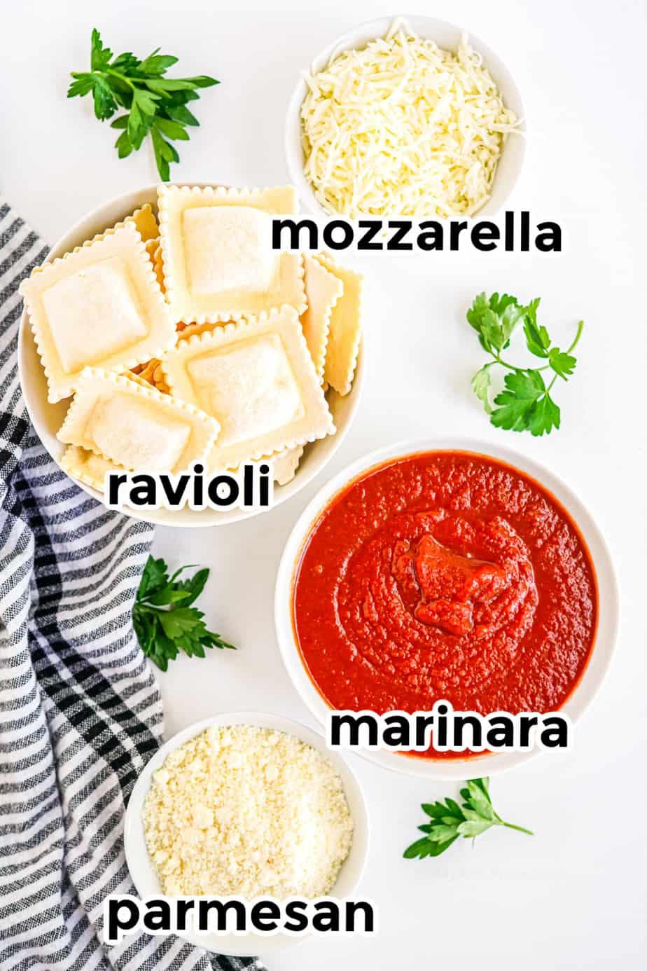 Ingredients for baked ravioli
