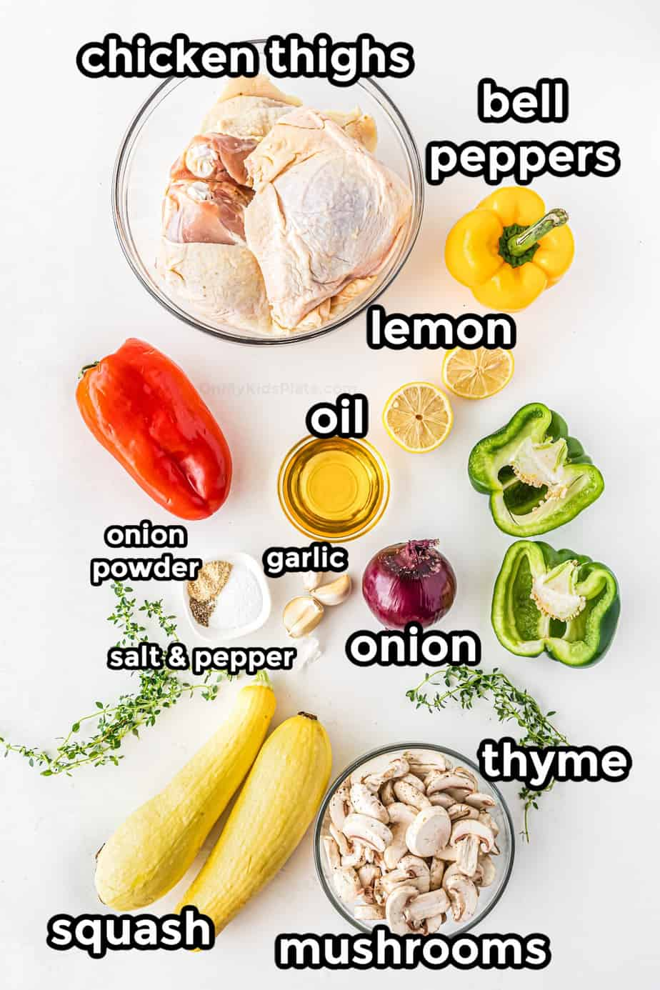 Ingredients for Baked Chicken Thighs with Squash and Peppers
