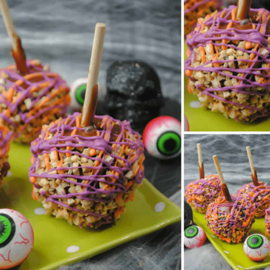 Caramel Apples decorated in Halloween colors