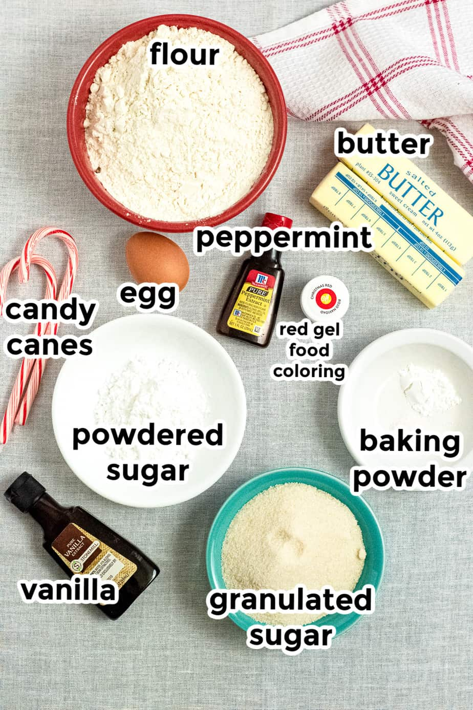 Ingredients for candy cane cookies