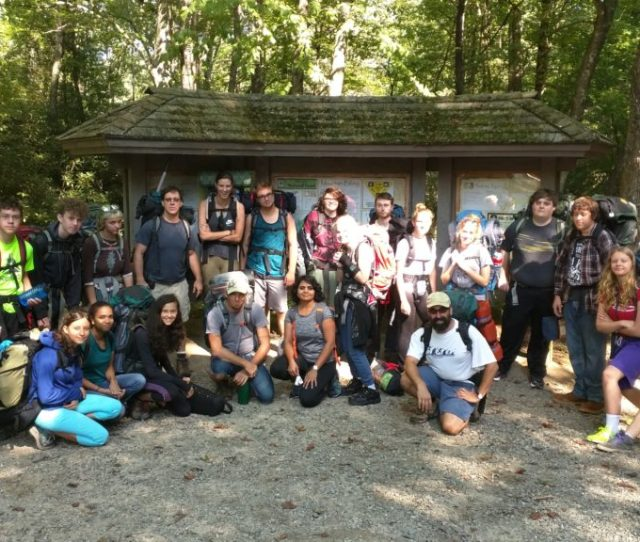 Odyssey High School Students At A Trailhead On Their Weekly Outdoor Adventure