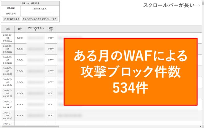 当サイト2017年7月のWAFによる攻撃ブロック件数