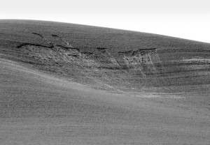 """Slopes shed their soil skins. Soils on slopes may be considered young, with only thin layers of """"topsoil"""" and very little organic matter. This is especially true if slopes are overgrazed or left bare."""