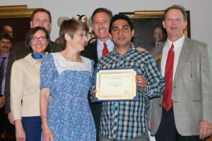 Karen Freudenberger and Chuda Dhaurali accept the Working Lands Grant.