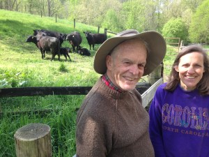 Bill and Helen Elkins at Buck Run Farm with a few of their cattle.