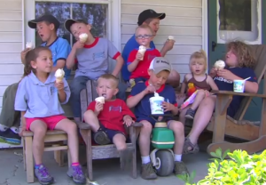 A porch full of happy kids!