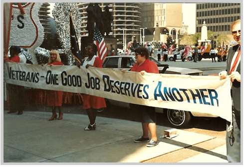 From the 1987 parade in D.C. representatives of the Department of Labor support jobs for veterans.  The more things change, the more they stay the same...