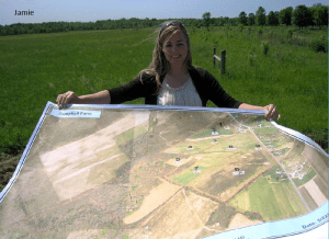 Jamie from the County Planning Department shows off the map she helped with for the Campbell Farm.