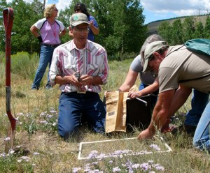 Ben Berlinger, retired NRCS show how to use a square made of PVC pipe, a paper bag, and a small scale to measure forage production in a Colorado pasture.