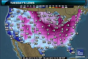Expected low temperatures for Tuesday, January 7, 2014