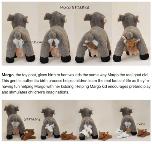 Margo the stuffed goat has kids
