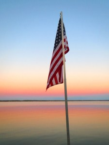 The flag over the Seneca lake shoreline