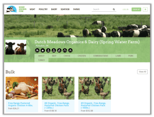 Here's what Dutch Meadows Organics Page looks like on Home Grown Cow