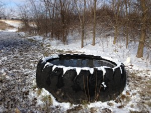 Freeze proof tire tank - open water necessary in winter.