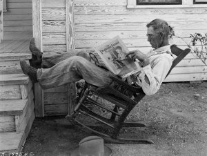 "Here's a farmer taking time to relax and ponder. Of course this was back in 1931 in Coryell County, Texas. Hopefully that's not just something that happened in the ""olden days."""