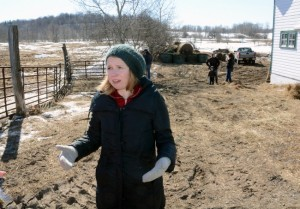 Sara Niccoli, owner of a farm in Palatine and supervisor of the town speaks in support of Joshua Rockwood at the West Wind Acres farm located West Glenville Road. Rockwood, 36, of Glenville is facing 13 misdemeanor charges for not providing proper food, water and shelter to several domestic animals. Phhoto by Marc Schultz for The Daily Gazette