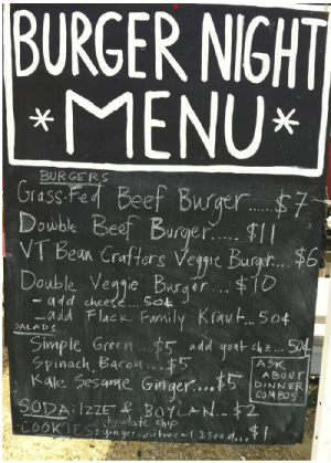 BurgerNightMenu at Bread and Butter Farm