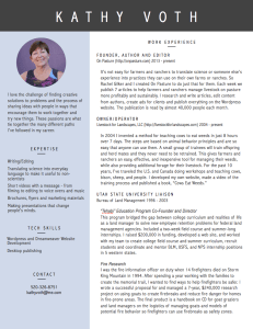 Got a job for Kathy? Here's her resume in case things don't work out with On Pasture.