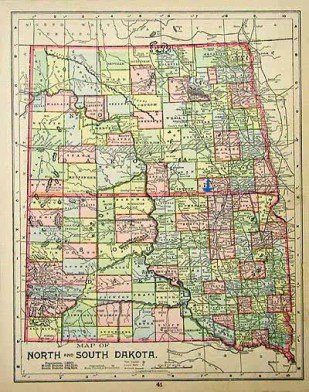 "This antique map of North and South Dakota shows how the Missouri River basically splits the two states in half: ""West"" river on one side and ""East"" river on the other. Forbes, North Dakota is about where the blue arrow is."