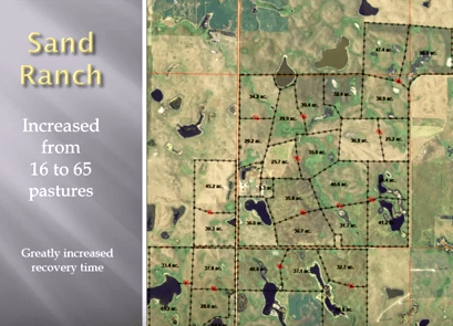 Here's a map of the Sand Ranch home place. Every red dot is a watering point for cattle.
