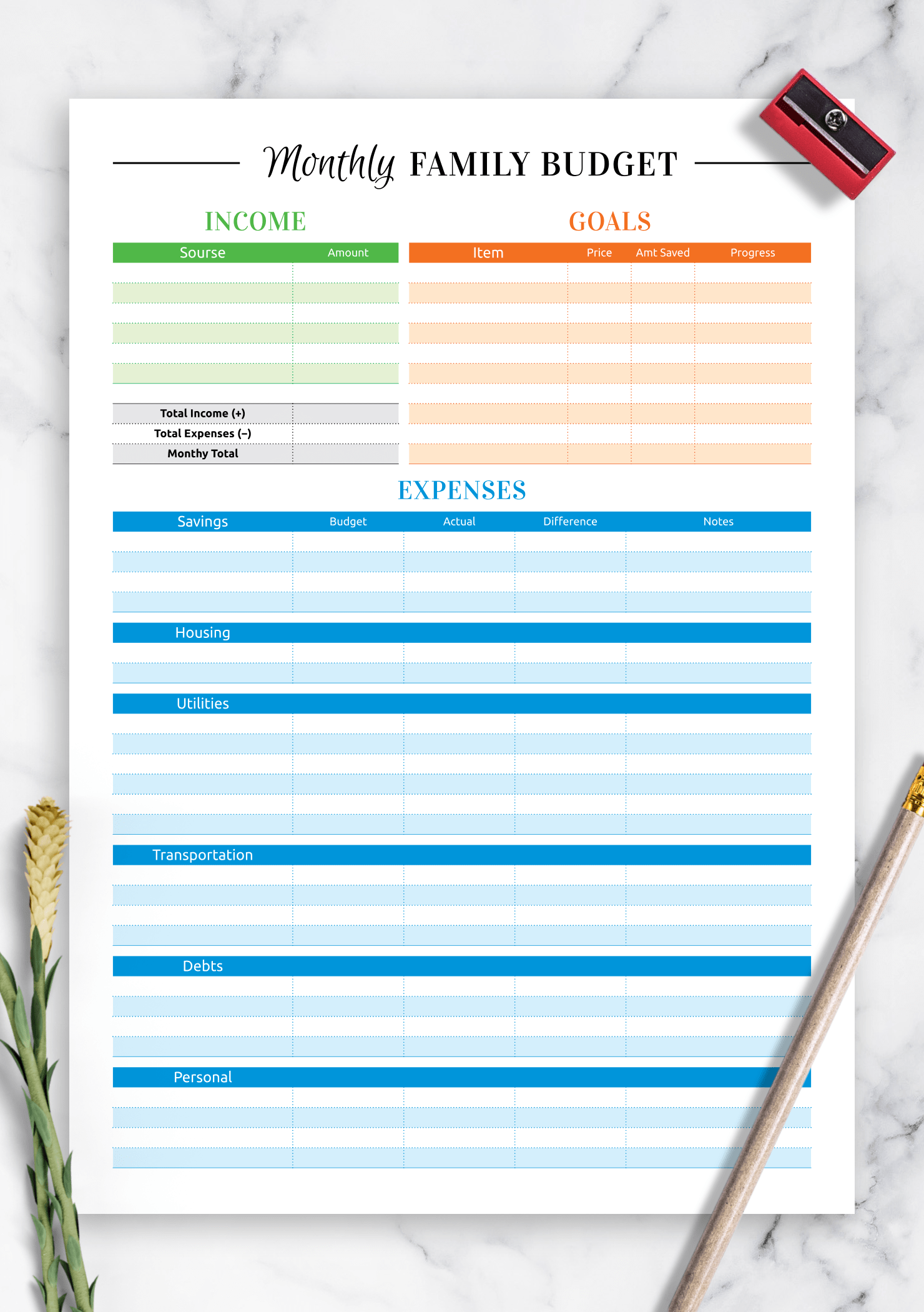 Download Printable Colored Family Budget Template